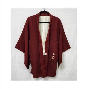 Japanese Kimono Jackets & Coats - Vintage Hand Painted Cherry Blossom Kimono Jacket